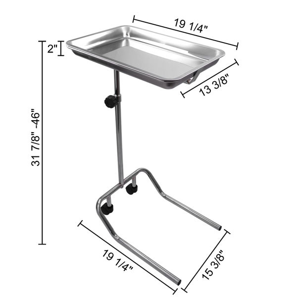 N400 Stainless Steel Medical Dental Mobile Tray Stand