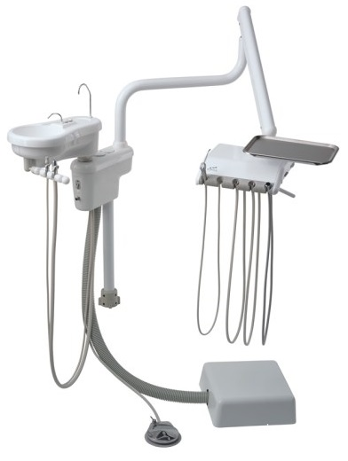 Engle E300 Over Patient Dental Delivery System w/ Cuspidor & Assistant's Arm