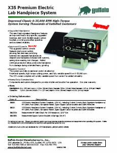 Buffalo X35 Dental Laboratory Micro motor Brochure