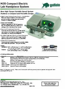 Buffalo M35 Dental Laboratory Micro motor Brochure