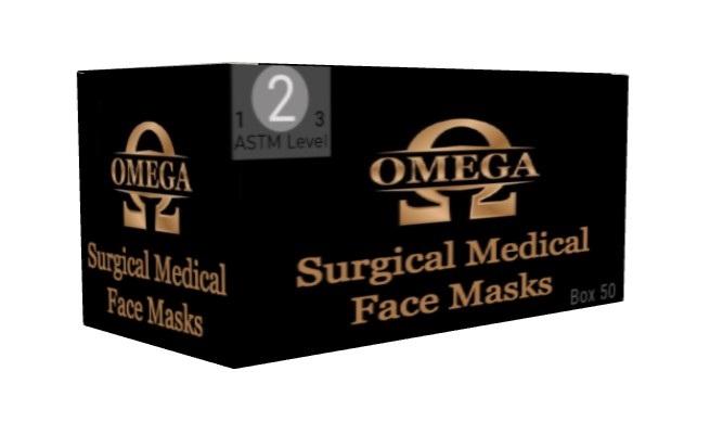 Omega ASTM Level 2 Light Blue Surgical Face Masks