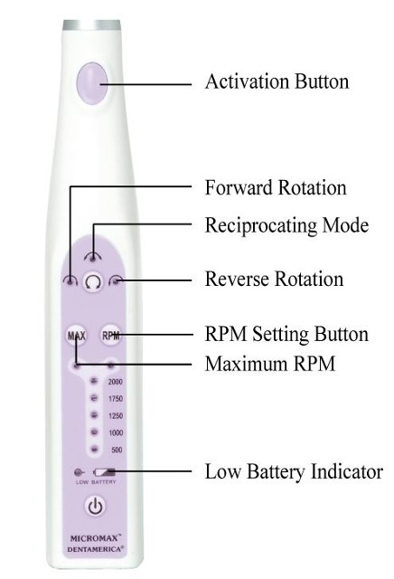 MicroMax Cordless Prophy Hygiene Handpiece Control Panel