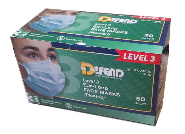 Defend Diffuser Anti-Fog Dual Fit Ear-Loop Pleated Face Mask